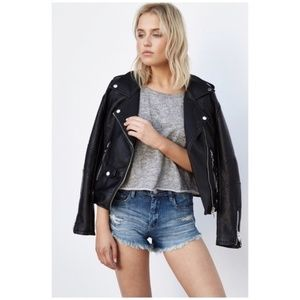 Blank NYC Wedge High Rise distressed jean shorts